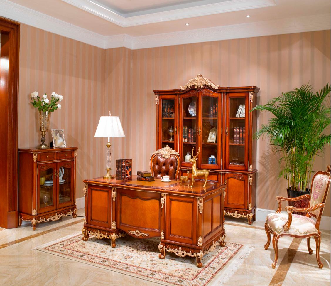 万兴欧式家具6602四门书柜+茶水柜+写字台写字椅