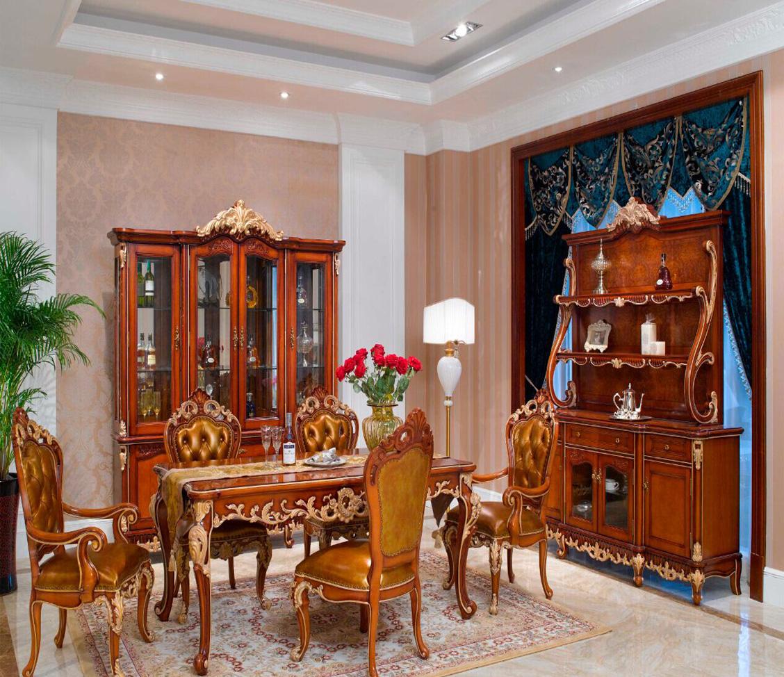 万兴欧式家具宫系列6602四门酒柜+餐桌餐椅餐边柜