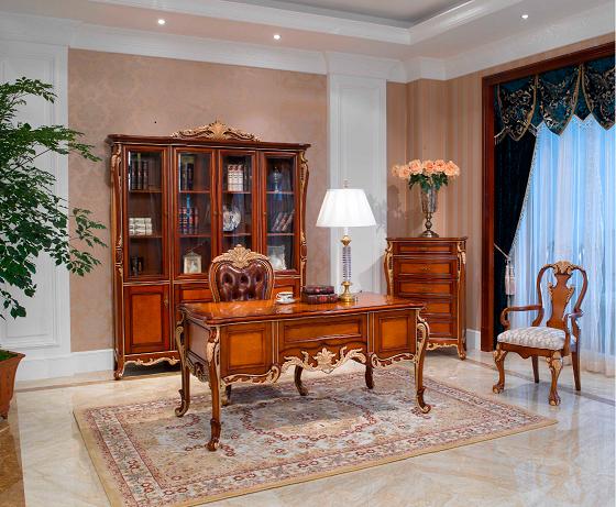 万兴欧式家具宫系列6601四门书柜+写字台+五斗柜+写字椅